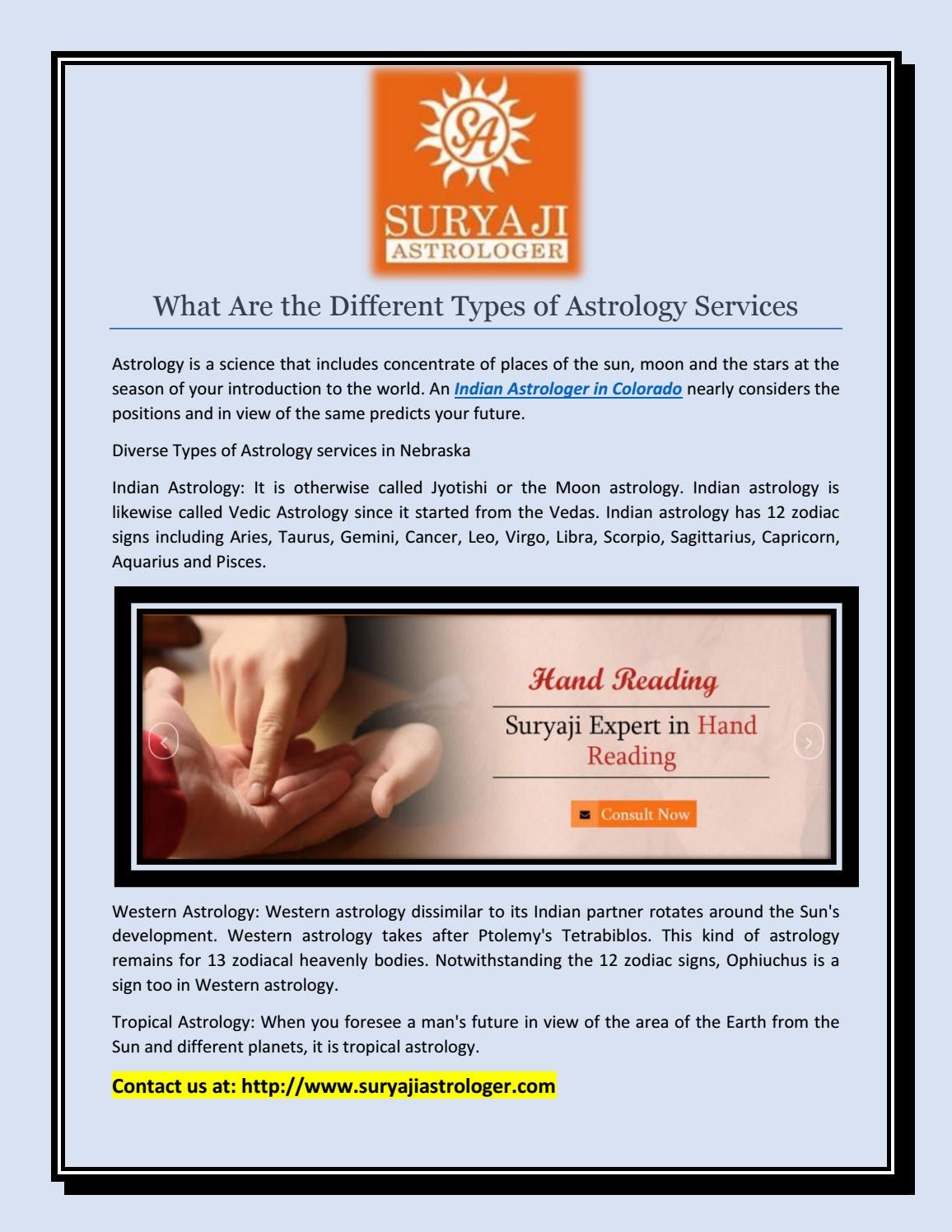 What Are the Different Types of Astrology Services ? by SURYA JI