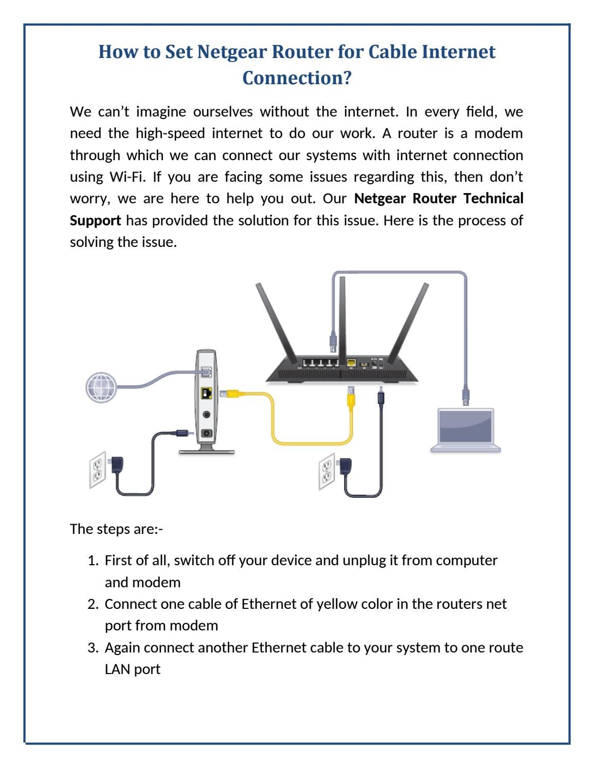 How To Set Netgear Router For Cable Internet Connection By Modem Ethernet Wiring Diagram Netgearsupportau Issuu