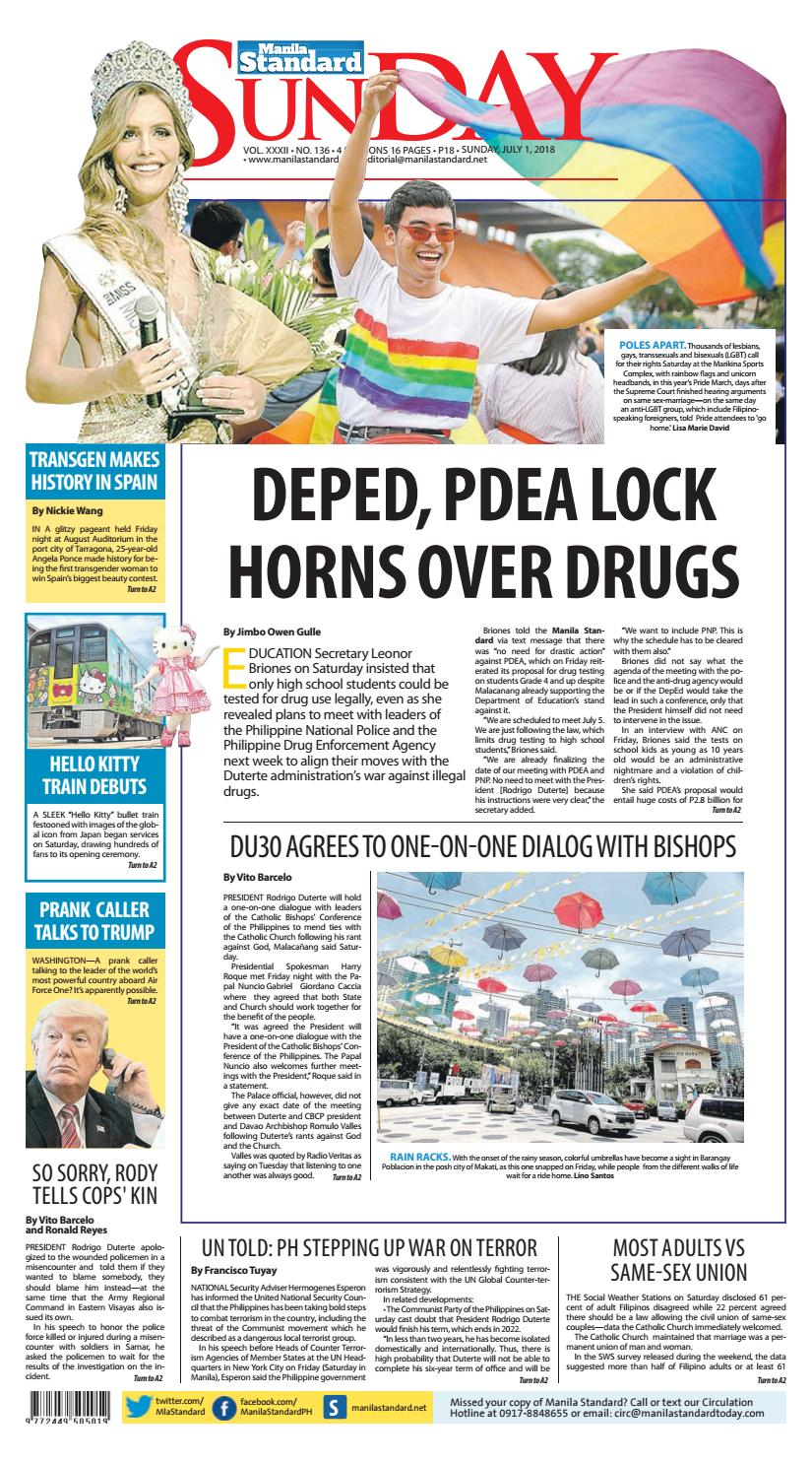 Manila Standard - 2018 July 1 - Sunday