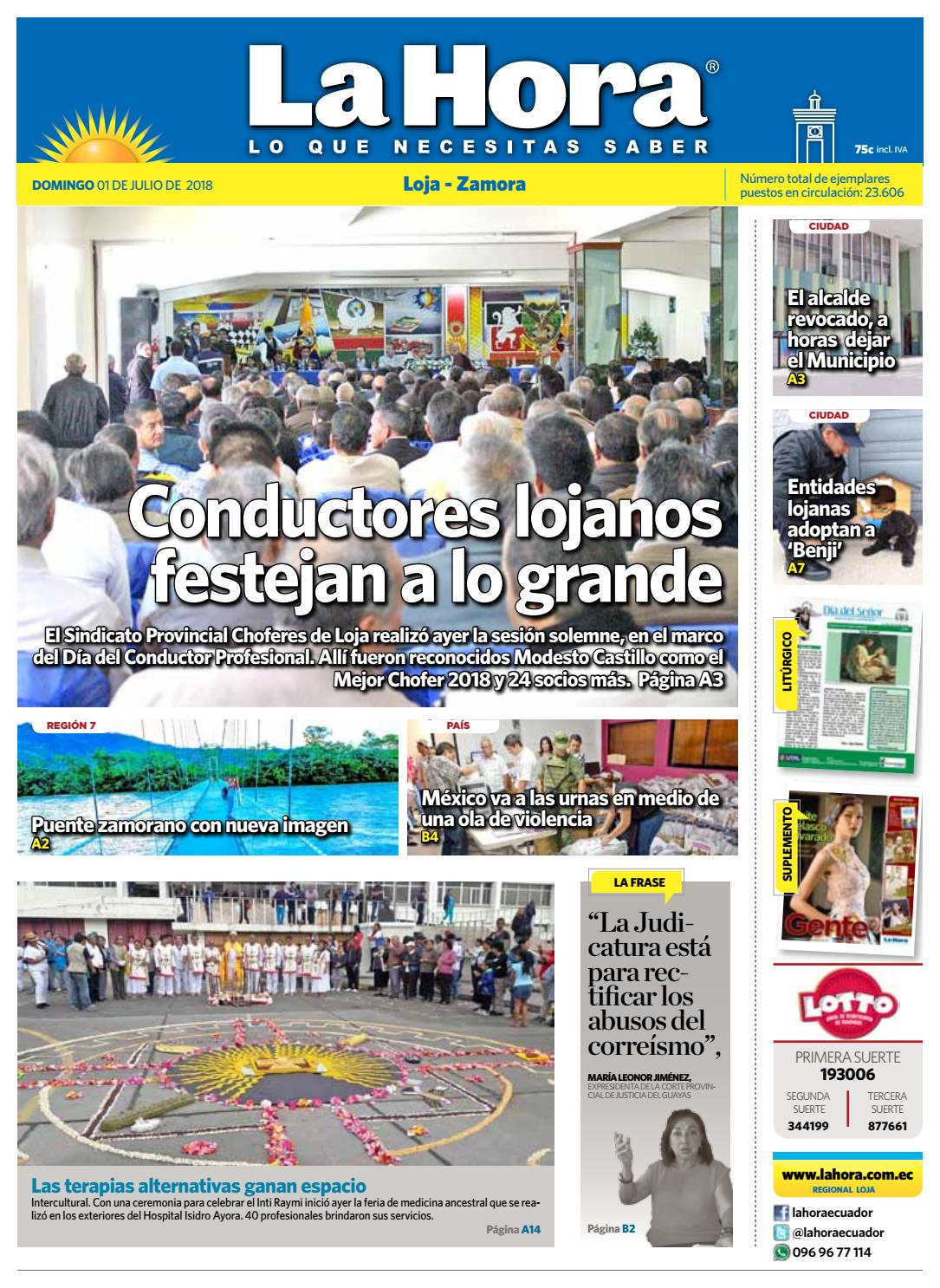 Diario La Hora Loja 01 de Julio 2018 by Diario La Hora Ecuador - issuu 5aa8092b2d1