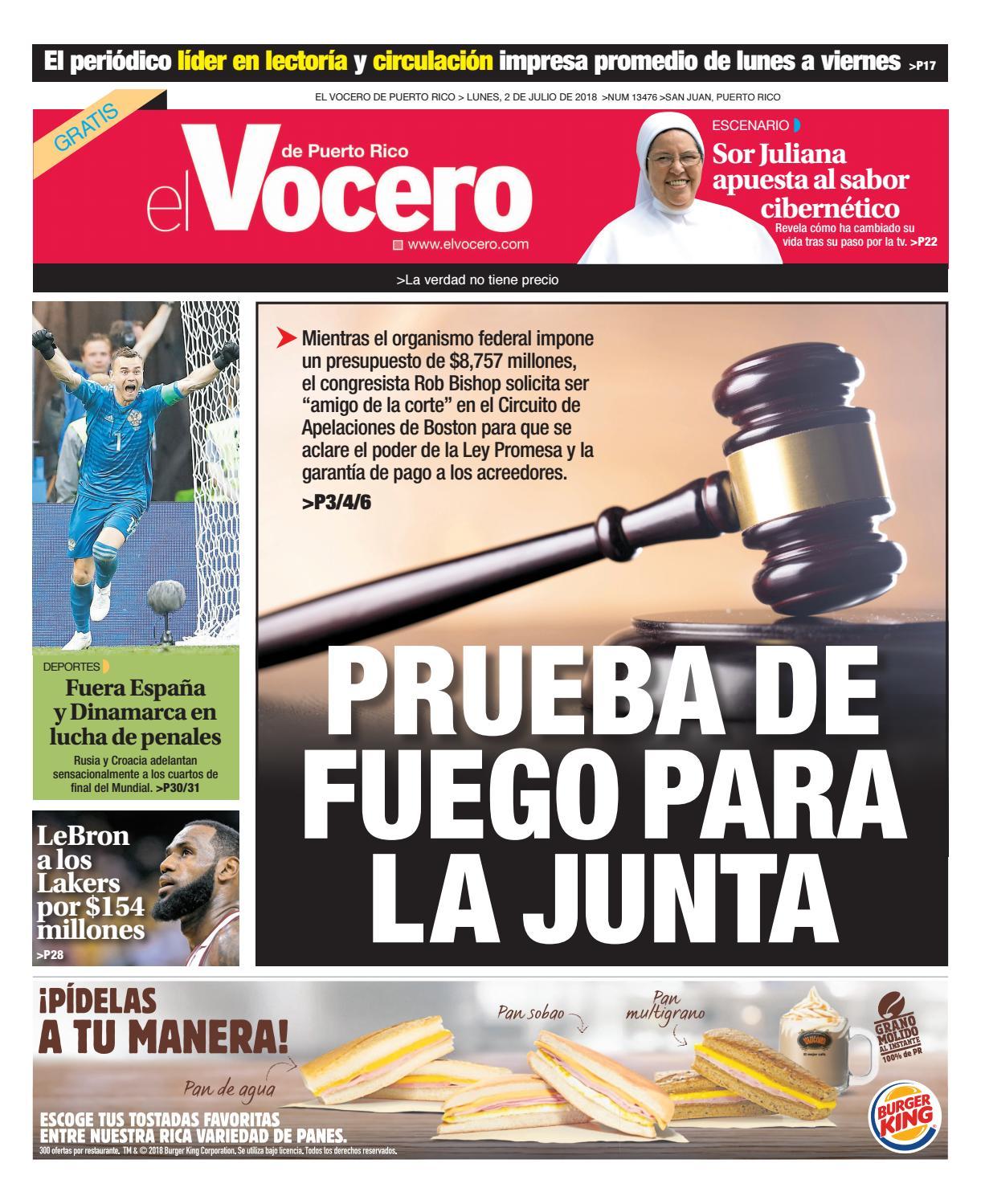 Edición del 2 de julio de 2018 by El Vocero de Puerto Rico - issuu