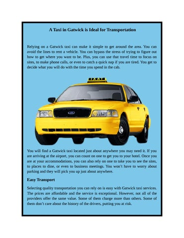 A taxi in gatwick is ideal for transportation by lhrcarsuk