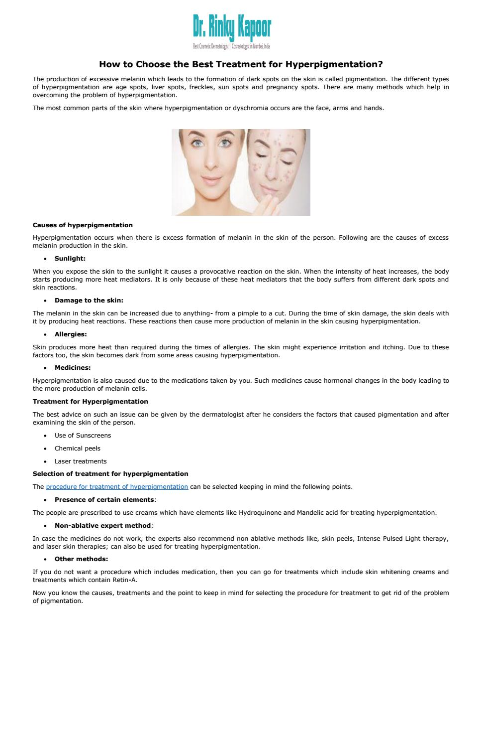 How to choose the best treatment for hyperpigmentation by Dr