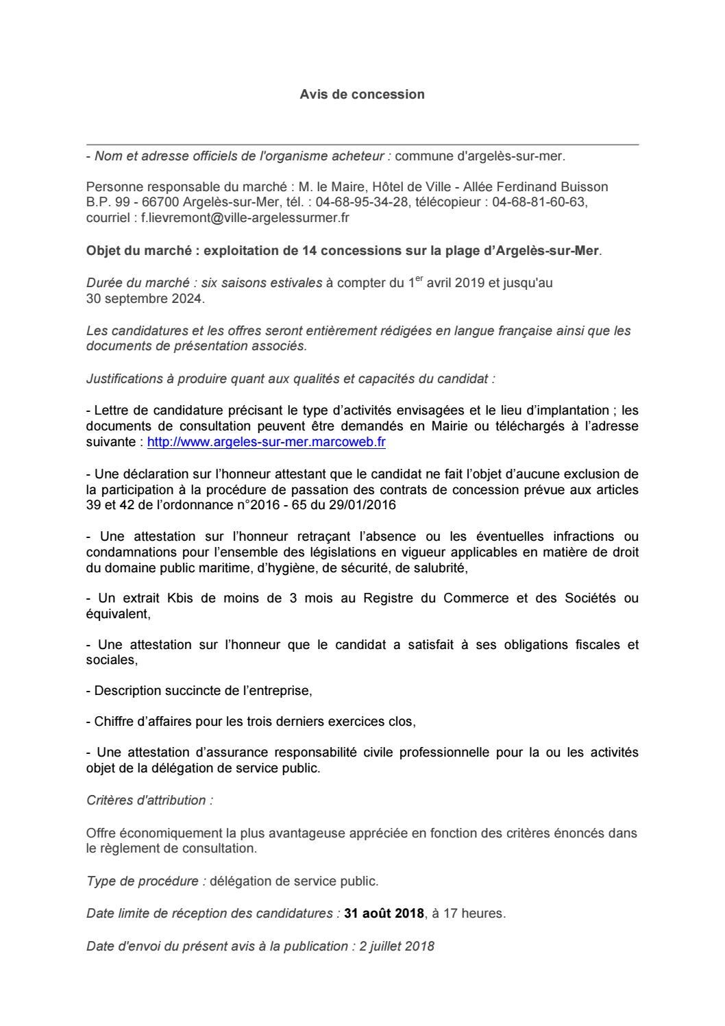 Avis De Consultation 2018 By Argeles Sur Mer Issuu