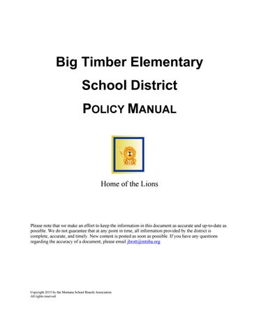 Big timber elementary policy manual by montana school boards big timber elementary policy manual by montana school boards association issuu fandeluxe Images