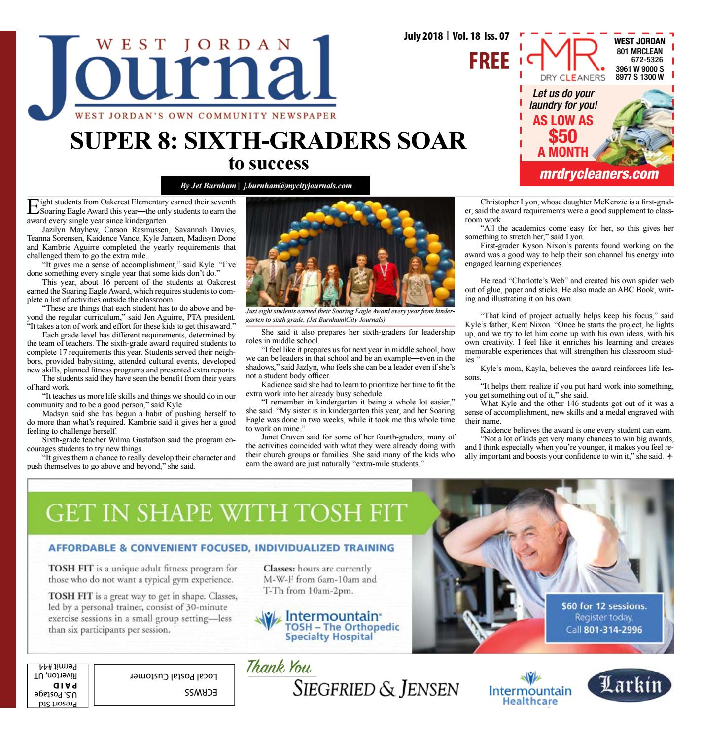 West Jordan City Journal July 2018 by The City Journals - issuu