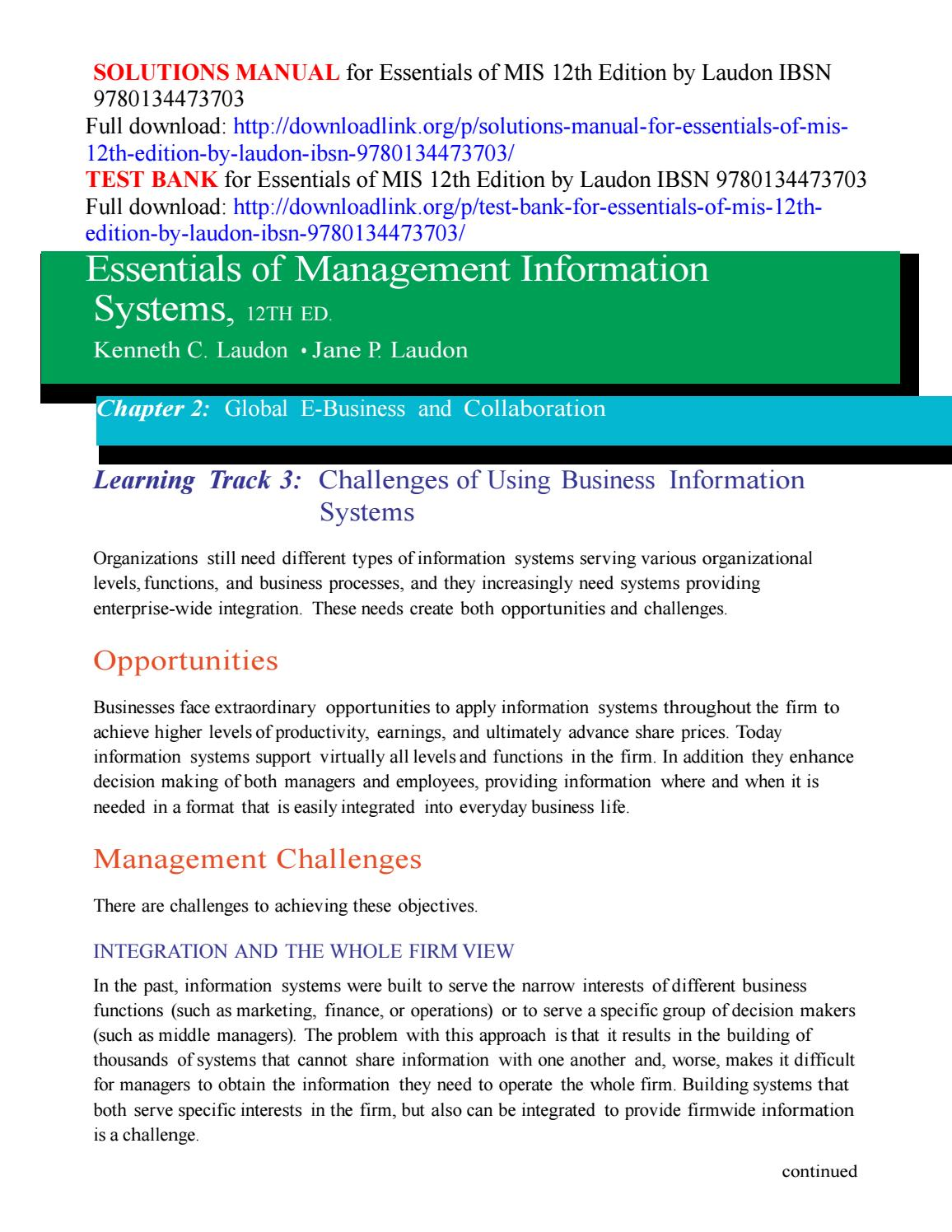 Solutions Manual For Essentials Of Mis 12th Edition By Laudon Ibsn 9780134473703 By Gucaki Issuu