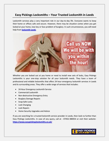 Easy Pickings Locksmiths – Your Trusted Locksmith in Leeds