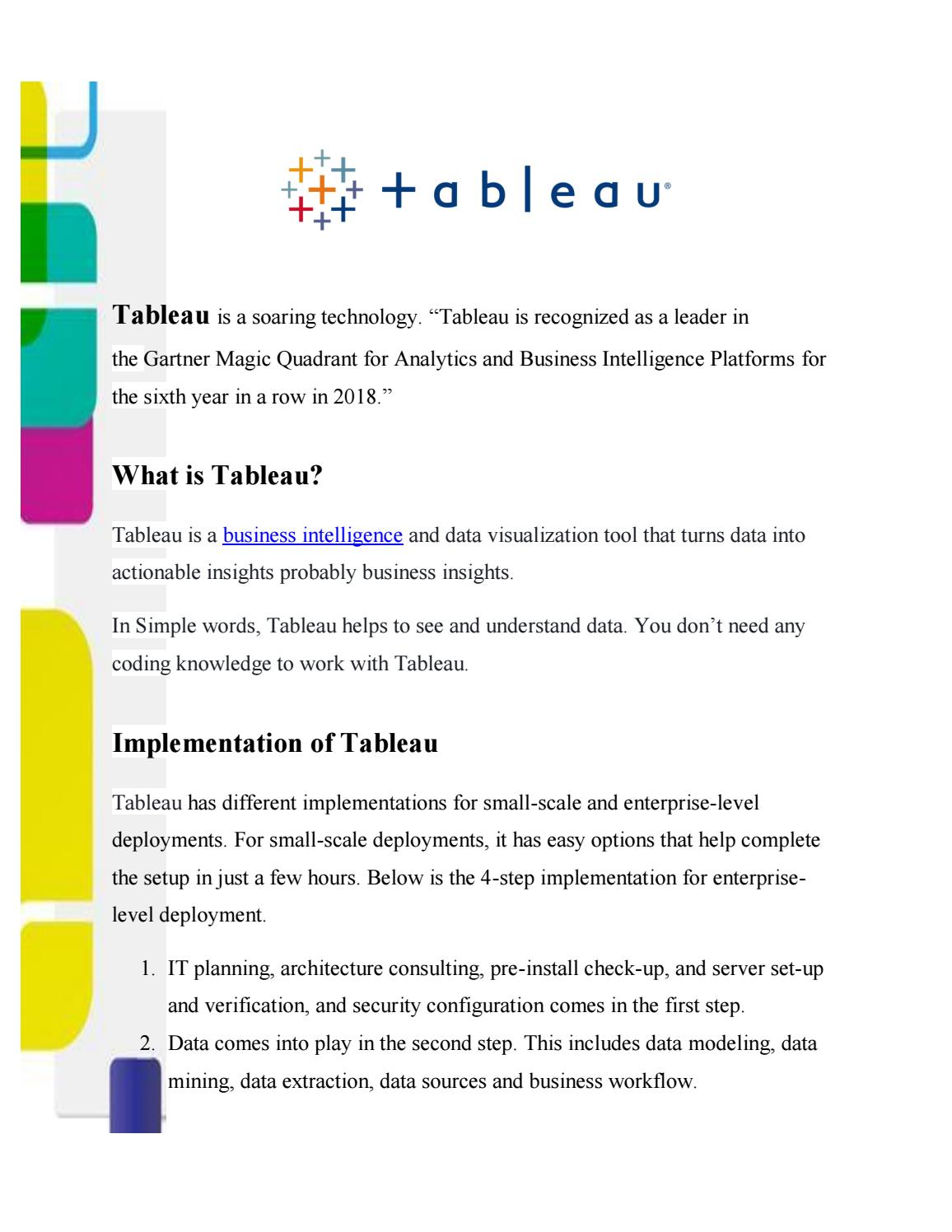 Introduction to Tableau | Tableau Implementation and