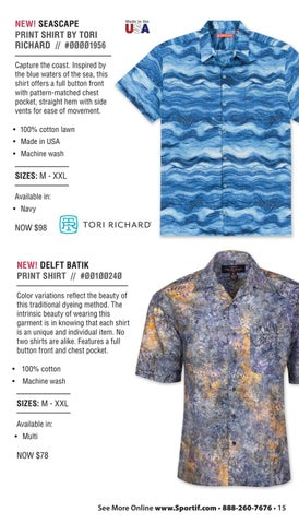 58d6e706c5 NEW! SEASCAPE PRINT SHIRT BY TORI RICHARD     ØØØØ1956 Capture the coast.  Inspired by the blue waters of the sea