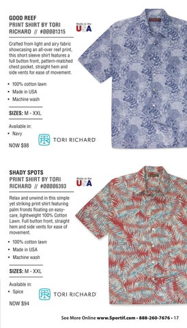 6ba830eef8 GOOD REEF PRINT SHIRT BY TORI RICHARD     ØØØØ1315 Crafted from light and  airy fabric showcasing an all-over reef print