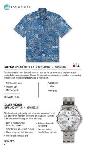 a96328c159 KEEPSAKE PRINT SHIRT BY TORI RICHARD     ØØØØ6453 This lightweight 100%  Cotton Lawn shirt acts as the perfect canvas to showcase an exotic  Polynesian block ...