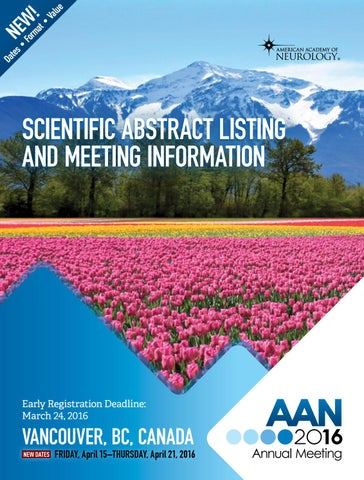 2016 AAN Annual Meeting Scientific Abstract Listing by