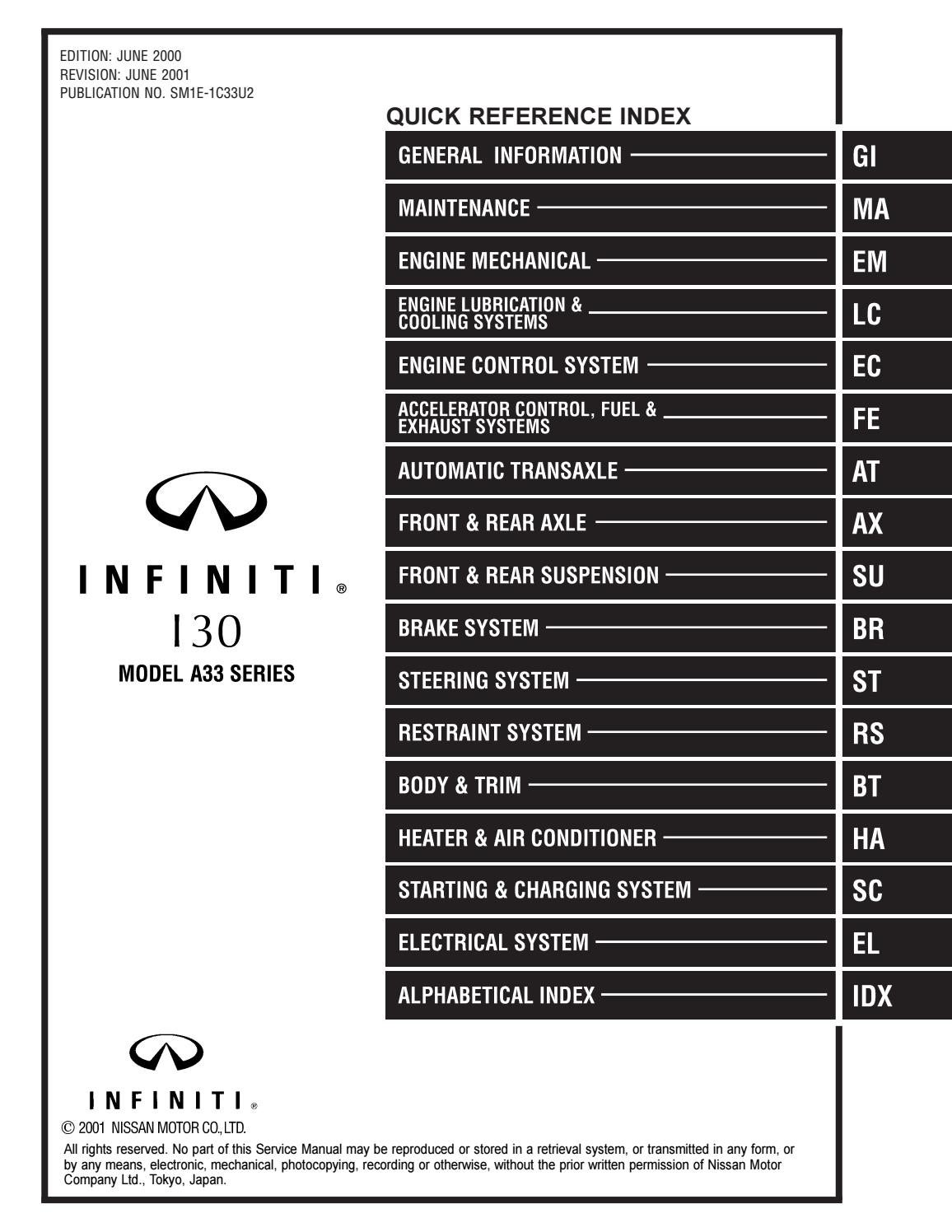 [SCHEMATICS_4ER]  2001 Infiniti I30 Service Repair Manual by 163101 - issuu | Infiniti I30 Ecm Wiring Harness |  | Issuu