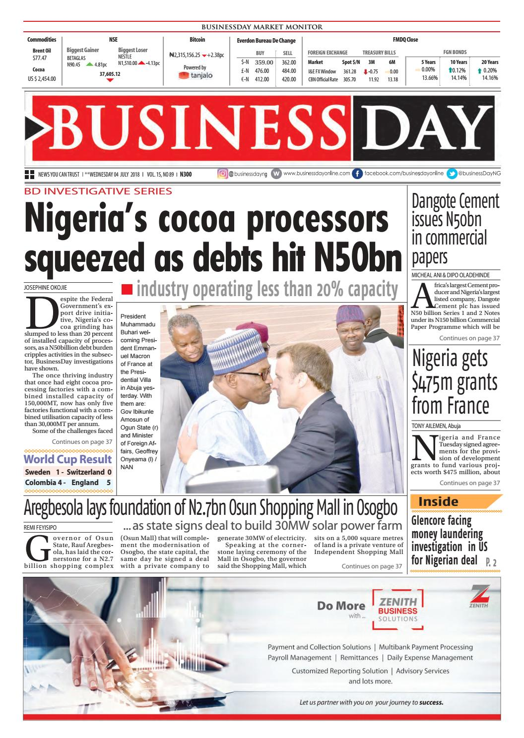 365dede89 Businessday 04 jul 2018 by BusinessDay - issuu