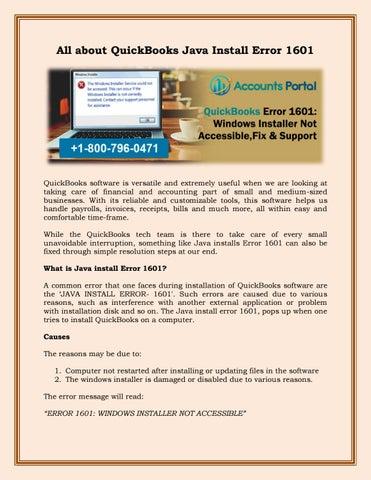 1-800-796-0471 : QuickBooks Error 1601: Windows Installer Not