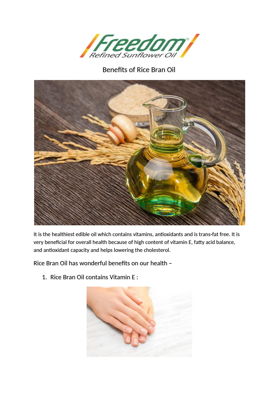 Benefits of rice bran oil by Freedom Healthy Oil - issuu