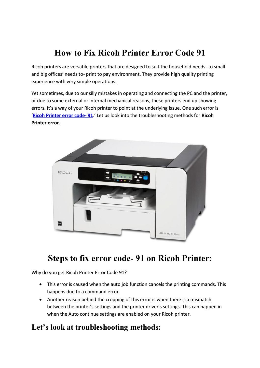 How to Fix Ricoh Printer Error Code 91 by Cindy Guerra - issuu