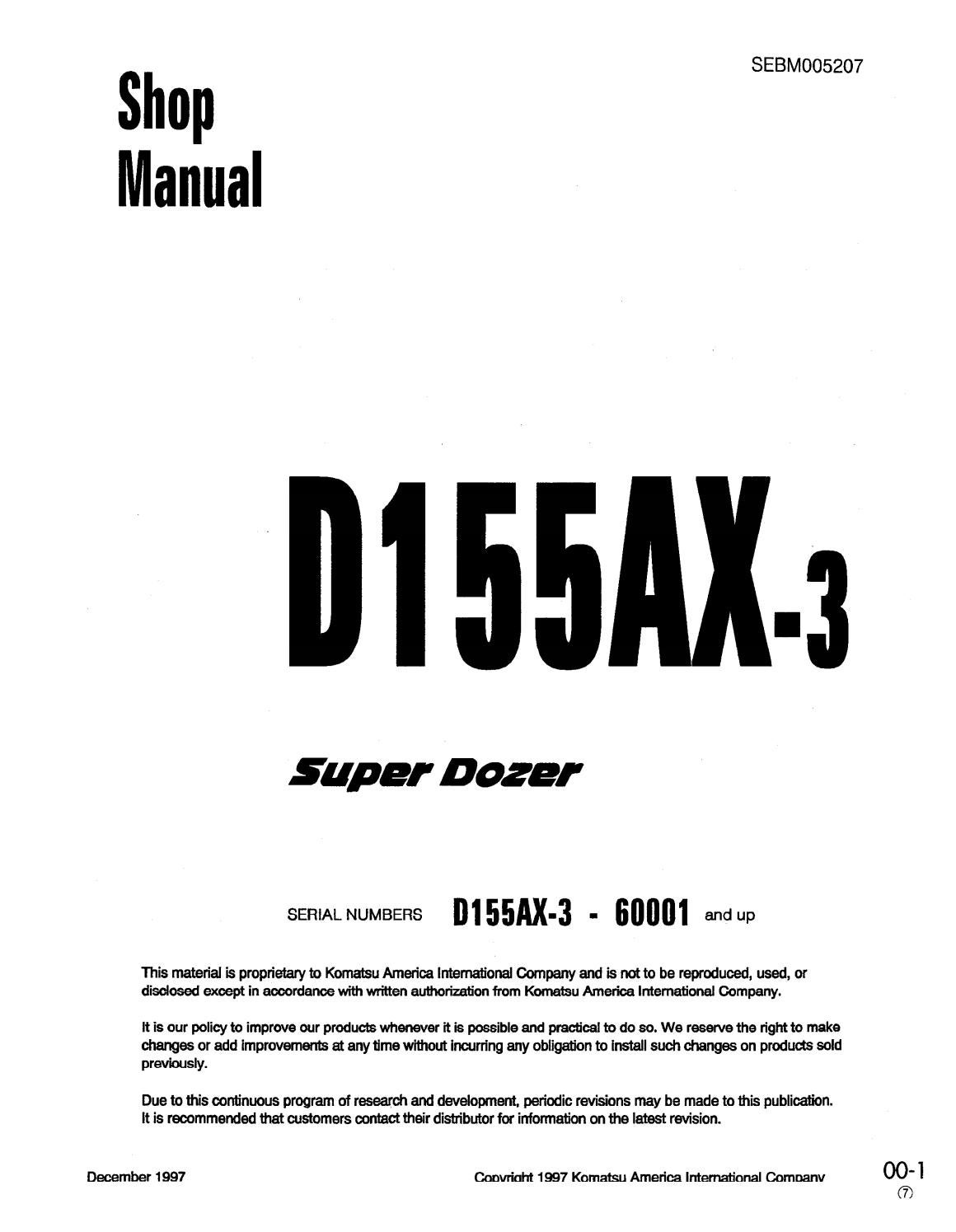 Komatsu D155AX-3 Super Dozer Bulldozer Service Repair Manual SN 60001 and  up by 163101 - issuu