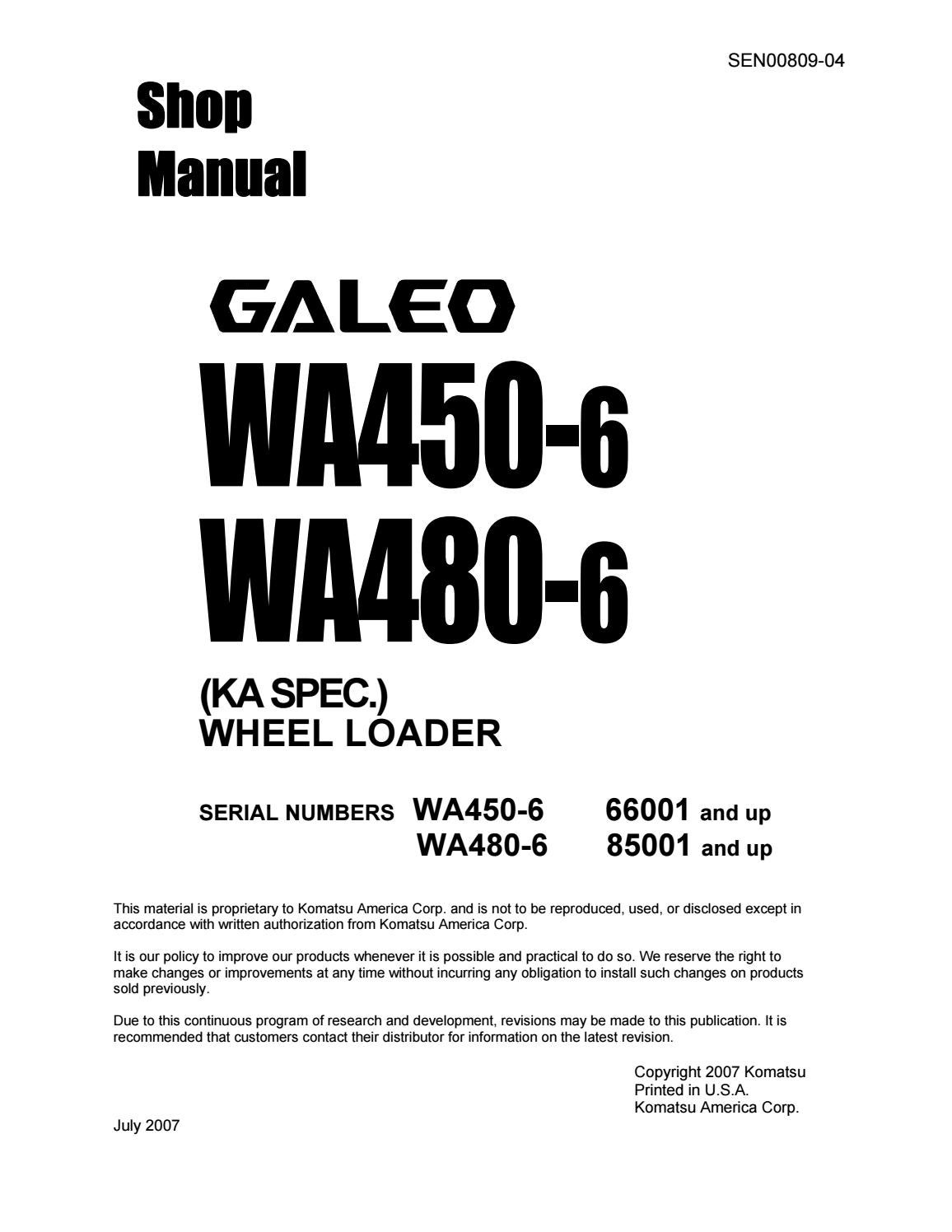 Komatsu Wa480 6 Galeo Wheel Loader Service Repair Manual Sn85001 25 Forklift Light Wiring Diagram And Up By 163101 Issuu