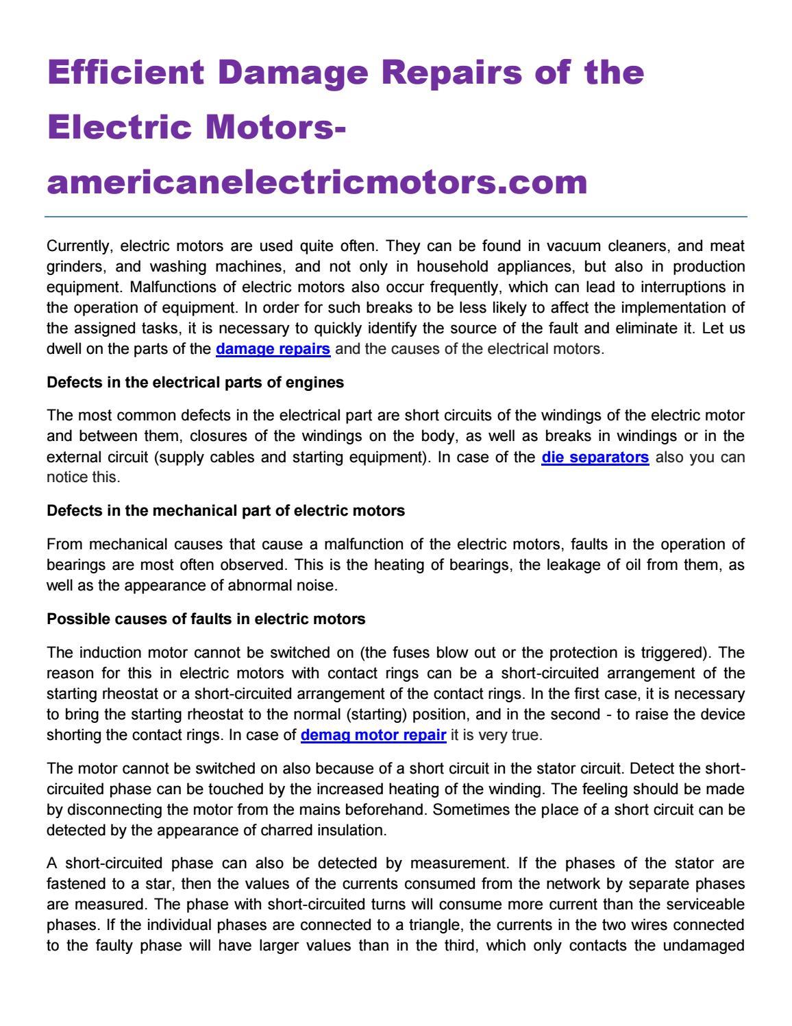 Efficient damage repairs of the electric motors americanelectricmotors com