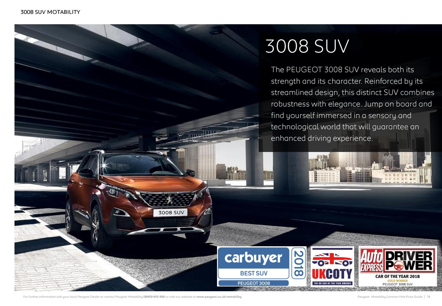 Peugeot 3008 Suv Motability Brochure Q3 2018 By Day S Motor Group