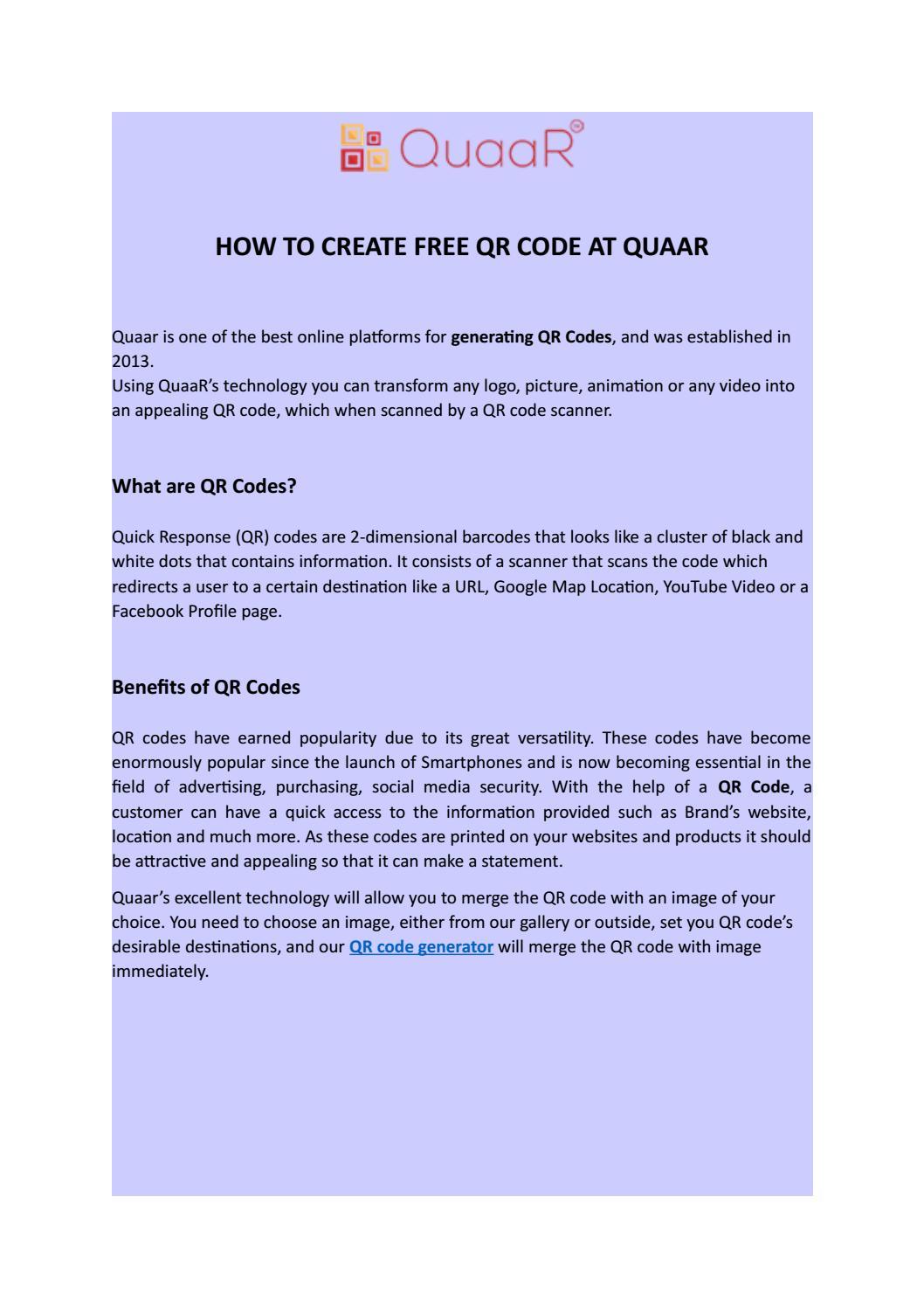 HOW TO CREATE FREE QR CODE AT QUAAR by Quaar - issuu