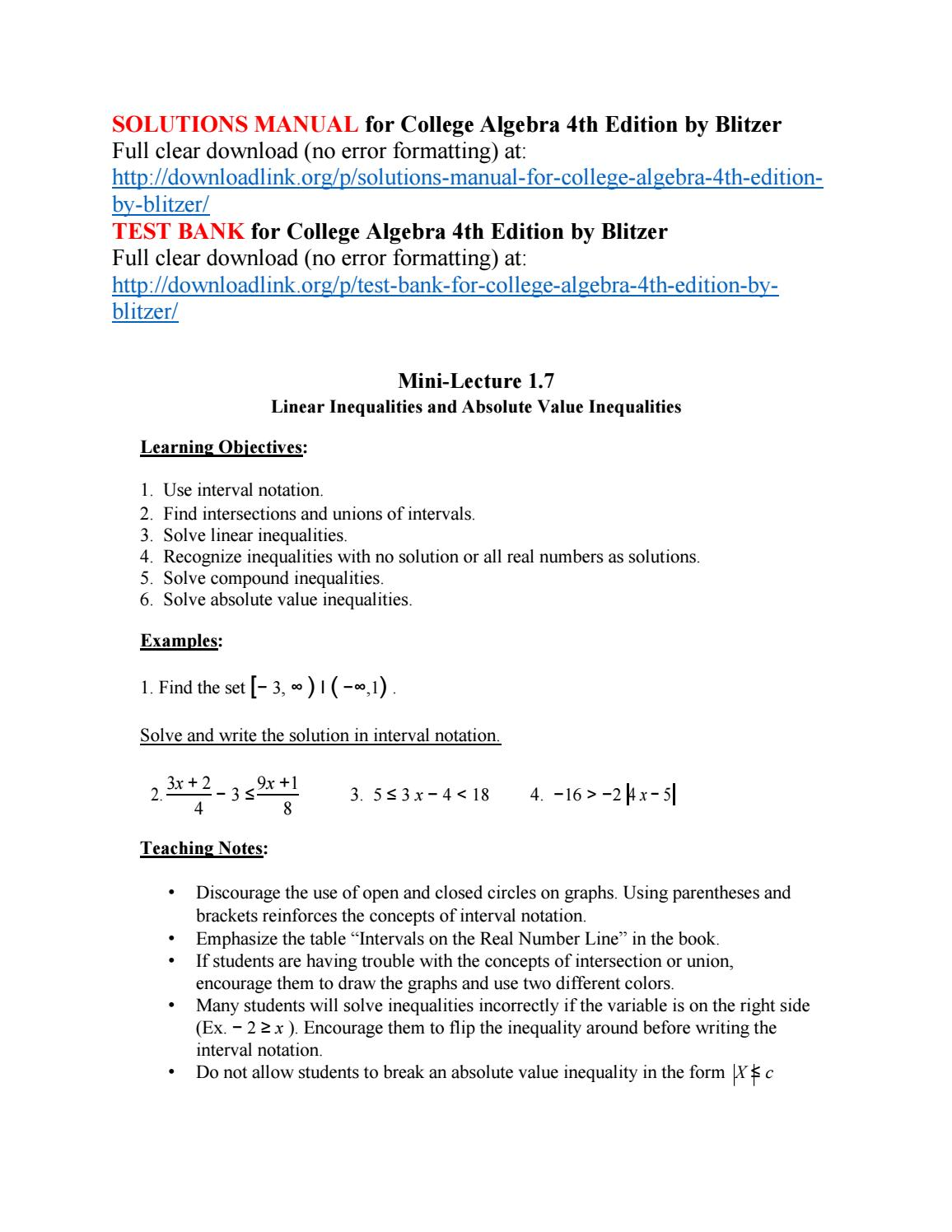 Solutions Manual for College Algebra 4th Edition by Blitzer by  KrisWu3456789 - issuu