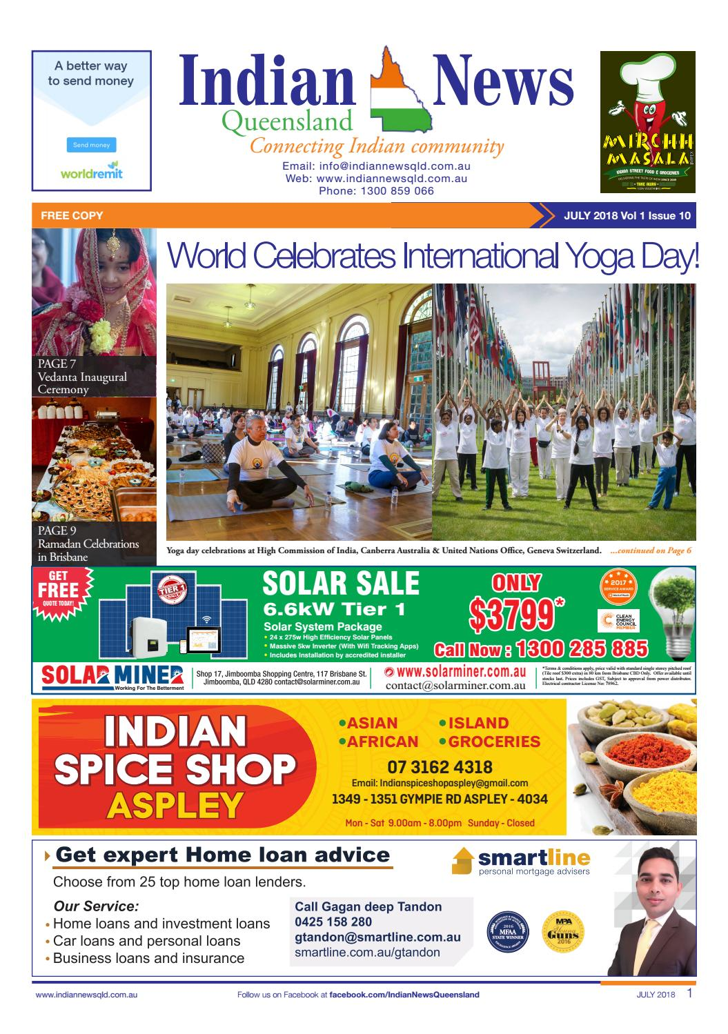 Indian News Queensland- July Issue 10 Vol 1 by Indian News