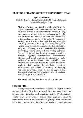 Topics For Proposal Essays  Essay Writing Format For High School Students also Essays For High School Students Training Of Learning Strategies In Writing Essay By Jeels  Business Essay Writing Service