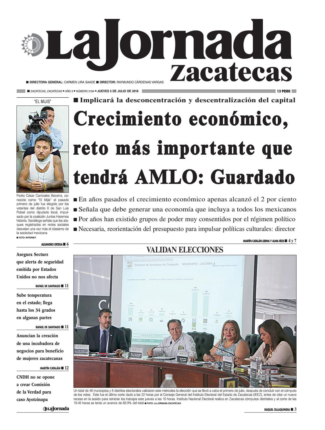 La Jornada Zacatecas Jueves 05 de Julio de 2018 by La Jornada ...