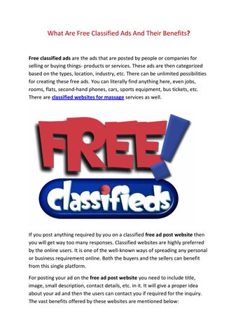 6e193fb9e9 What are free classified ads and their benefits by Catriona Collins ...