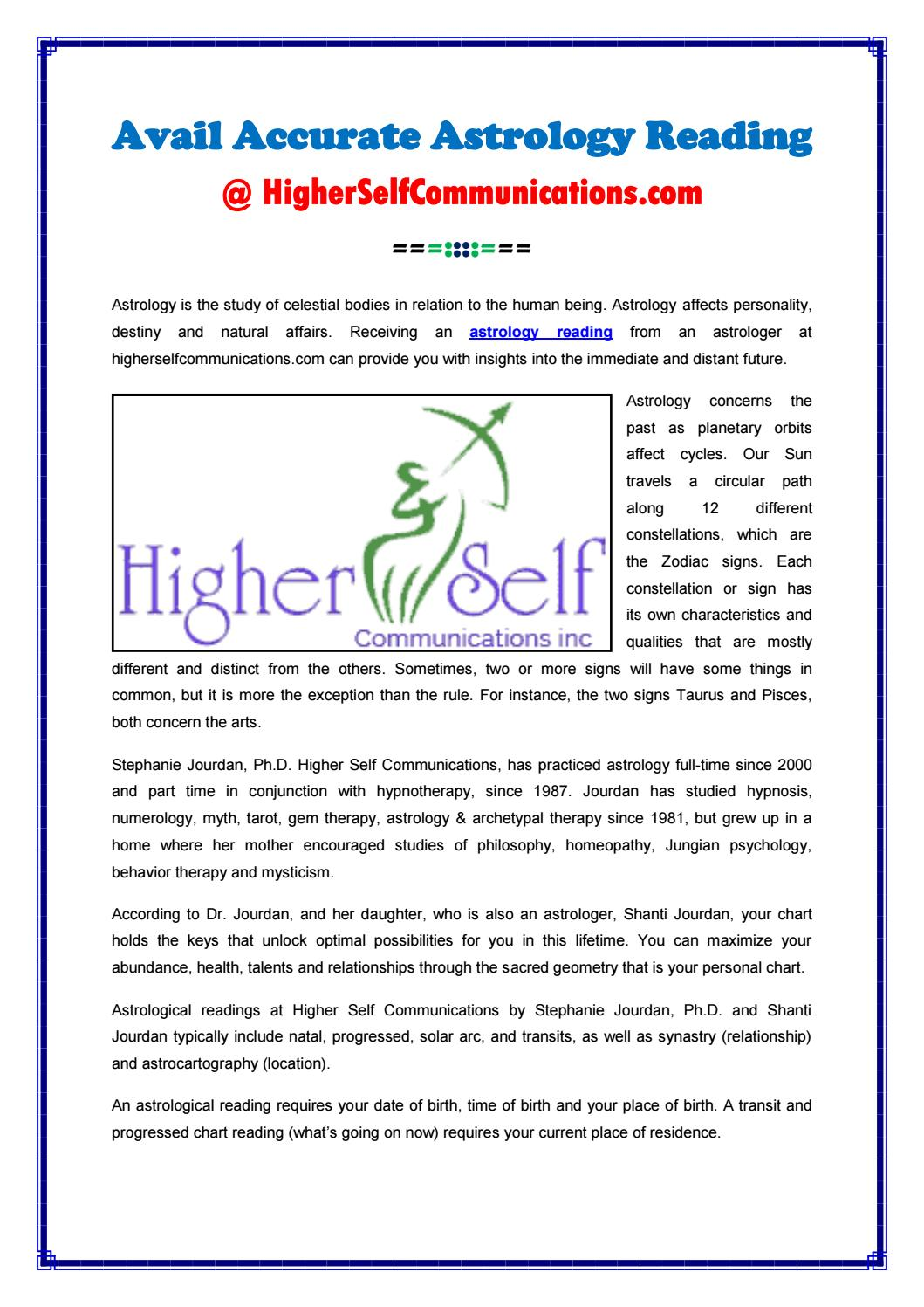 Astrology Reading At HigherSelfCommunications com by Higher