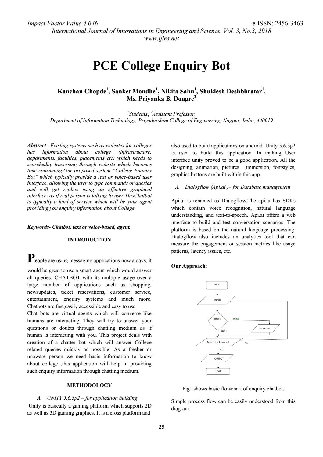Pce college enquiry bot by International Journal of Innovations in