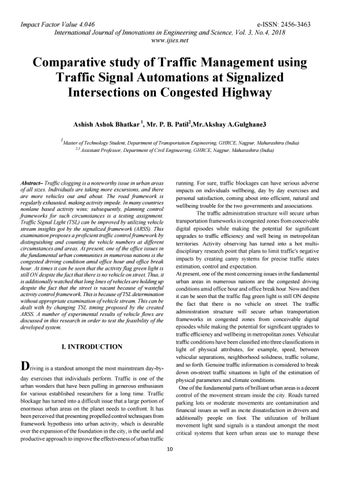 Comparative study of traffic management using traffic signal