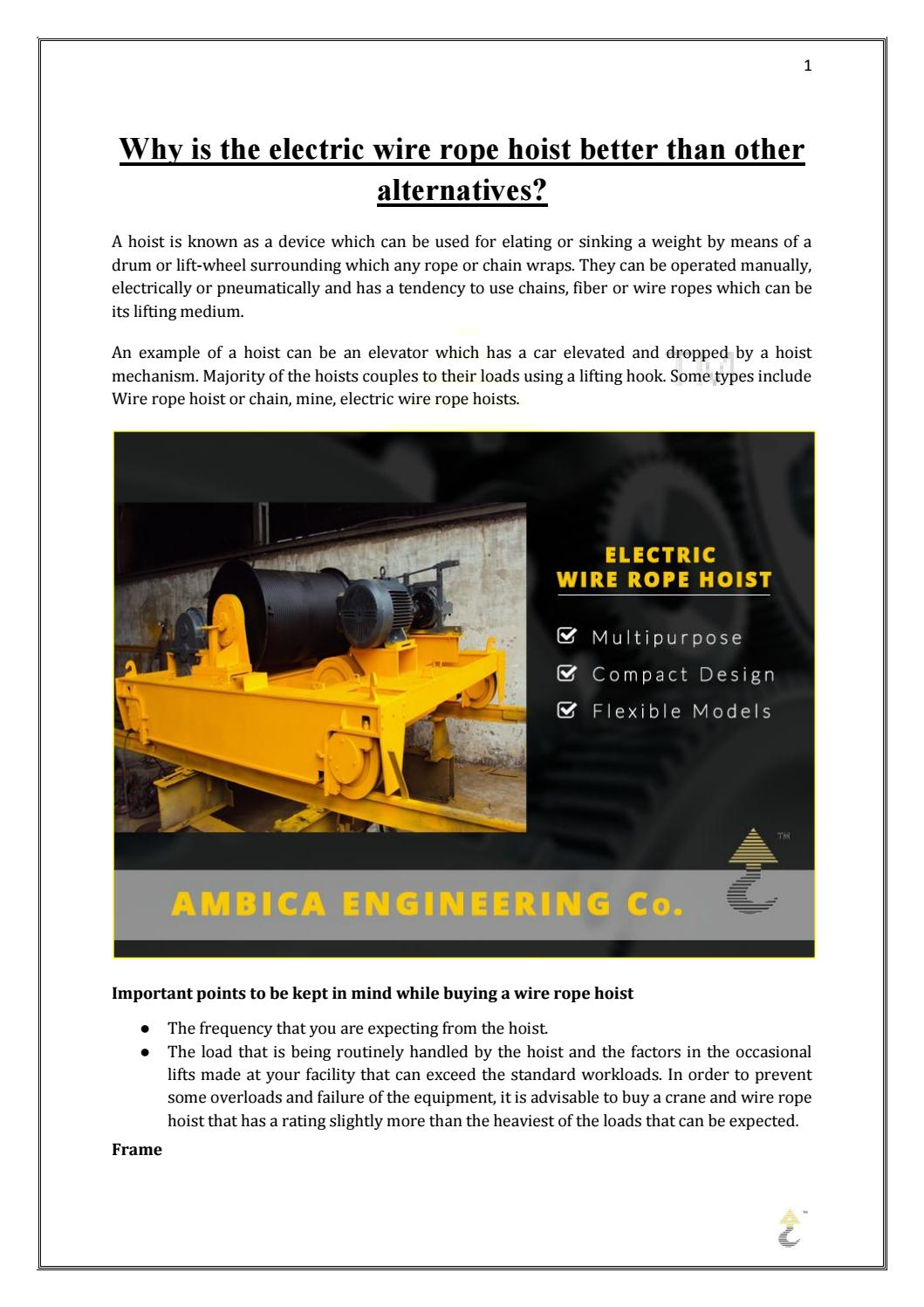 Why is the electric wire rope hoist better than other alternatives ...