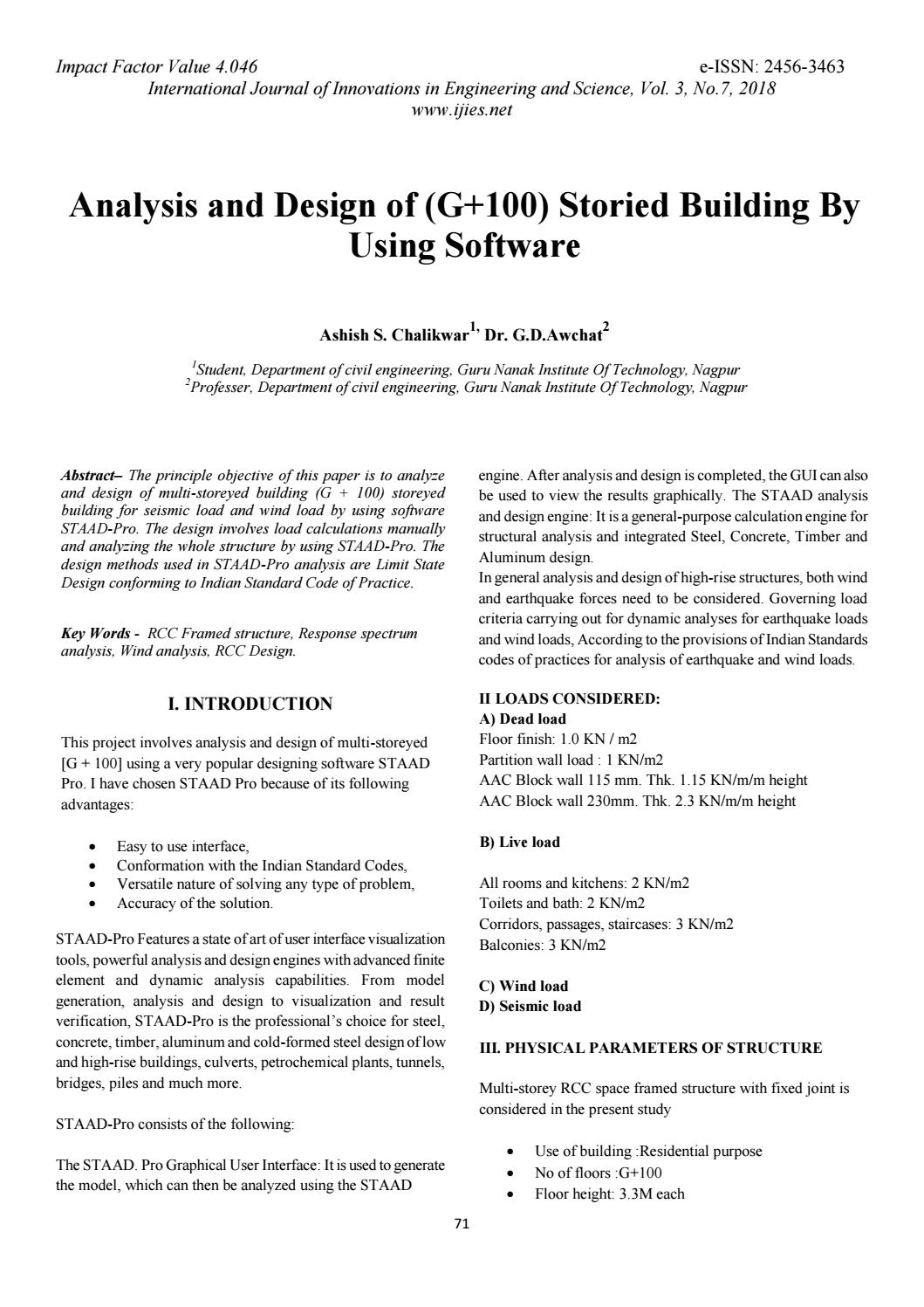Analysis and design of (g 100) storied building by using
