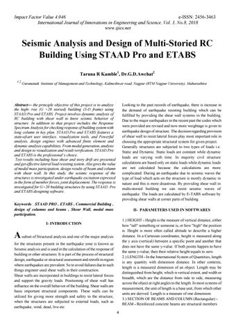 Seismic analysis and design of multi storied rc building