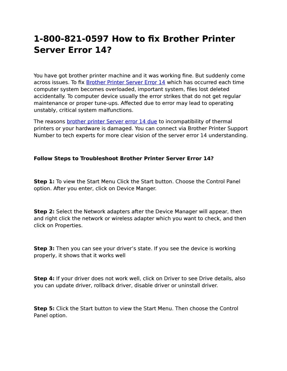 1-800-821-0597 How to fix Brother Printer Server Error 14? by