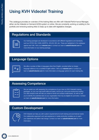 Page 14 of Using KVH Videotel Training