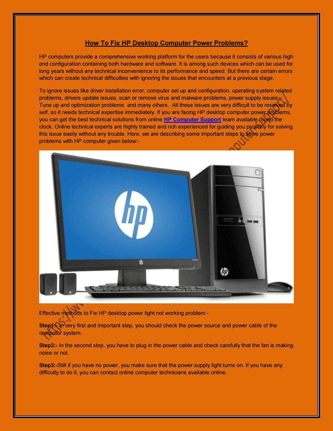 How to fix hp desktop computer power problems docx by Tony Roy - issuu