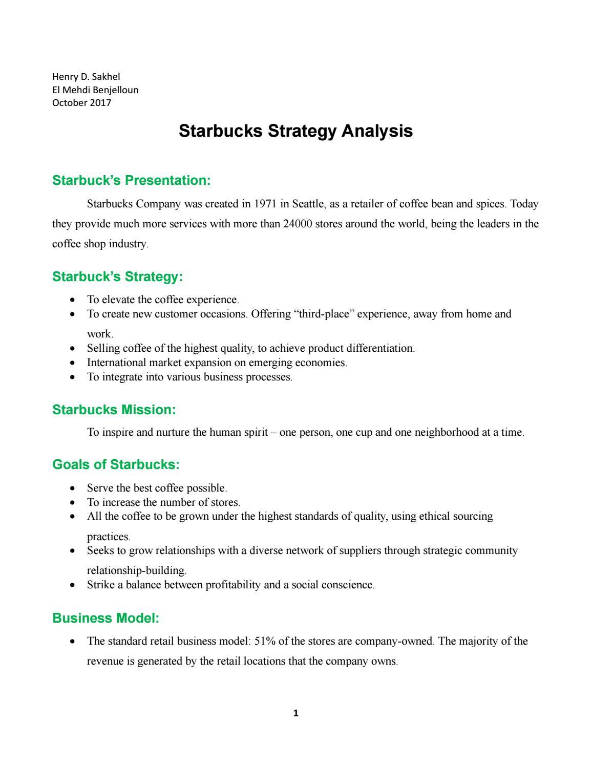 starbucks differentiation strategy