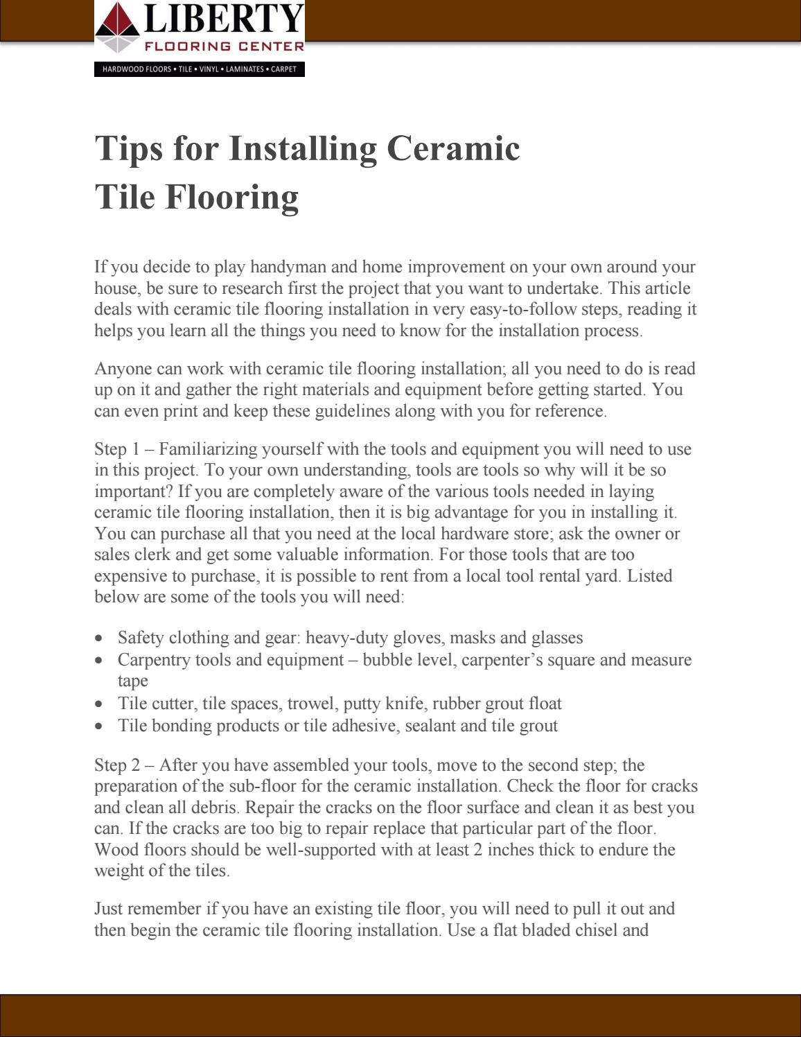 Tips For Installing Ceramic Tile Flooring By Woodlylinksu Issuu