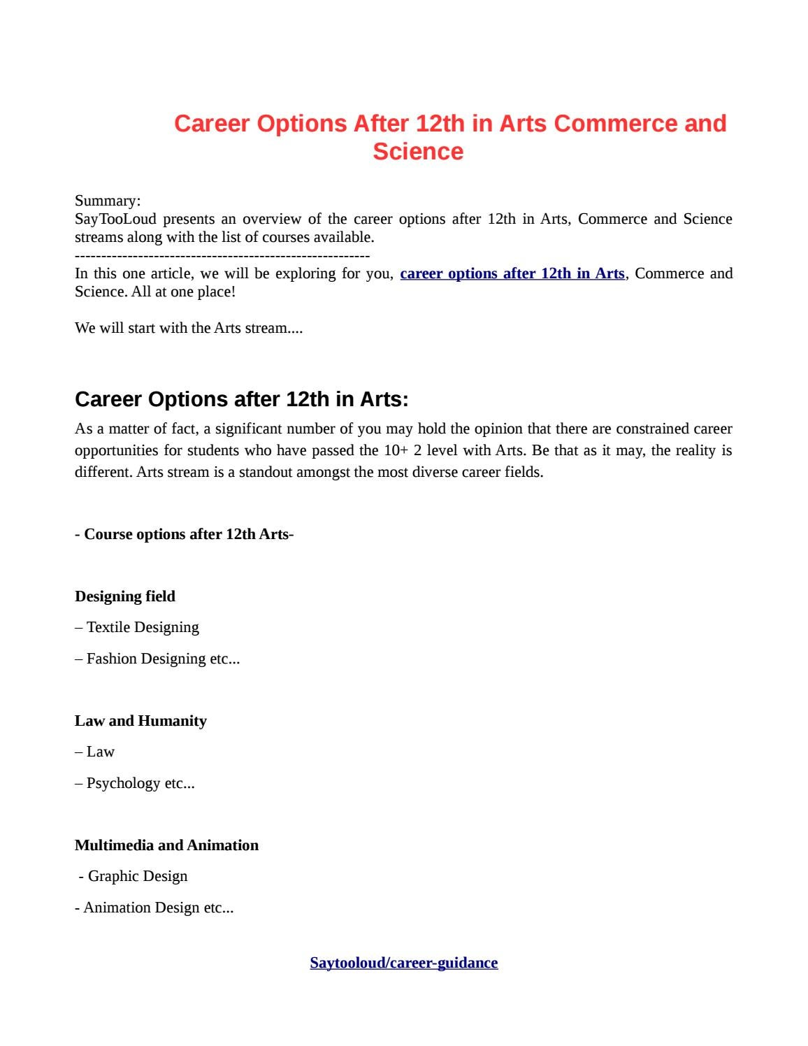 Career Options After 12th In Arts Commerce And Science By Ashwini Sharma Issuu