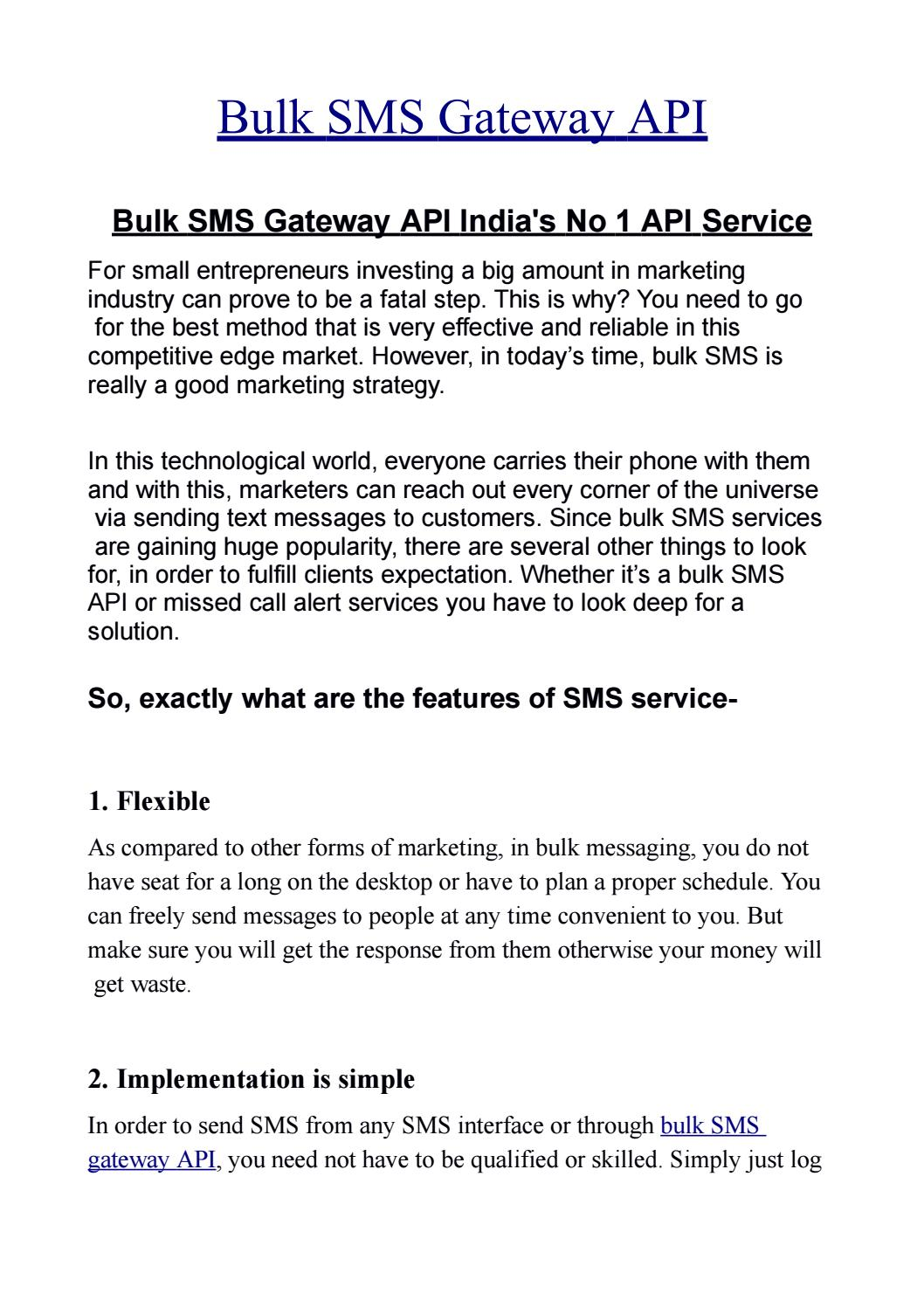 Bulk SMS Gateway API free Software with No setup Cost by