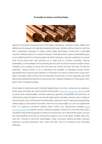 Major advantages of cadmium and nickel plating by John