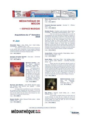 Mâcon 2018 Médiathèque Issuu 1er De Cds Nouveautés By Semestre 76byfg