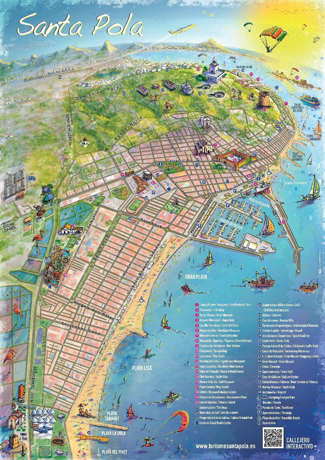 Mapa De Santa Pola.Mapa Turistico Ilustrado Santa Pola By Santa Pola Turismo