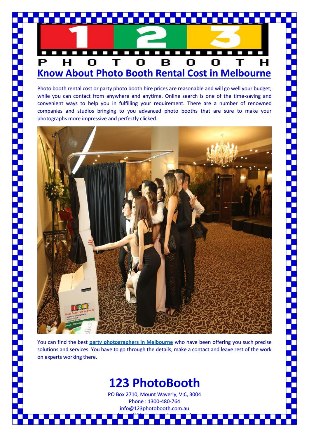Know About Photo Booth Rental Cost in Melbourne by 123
