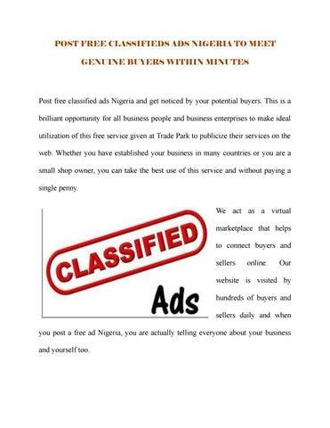 Post free classifieds ads Nigeria by Richa Kapoor - issuu